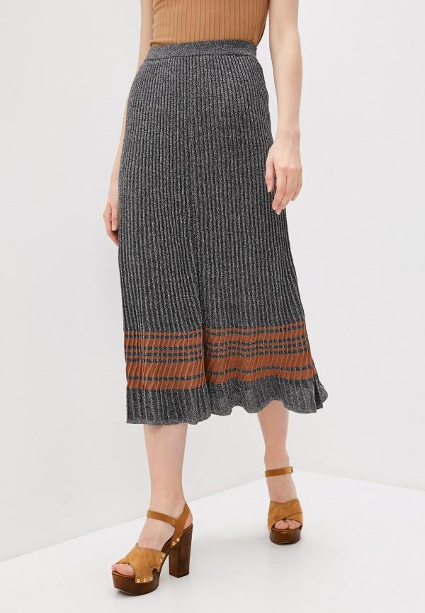 женская юбка-трапеции sandro, серебряная