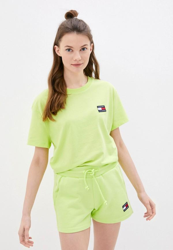 женская футболка tommy jeans, зеленая