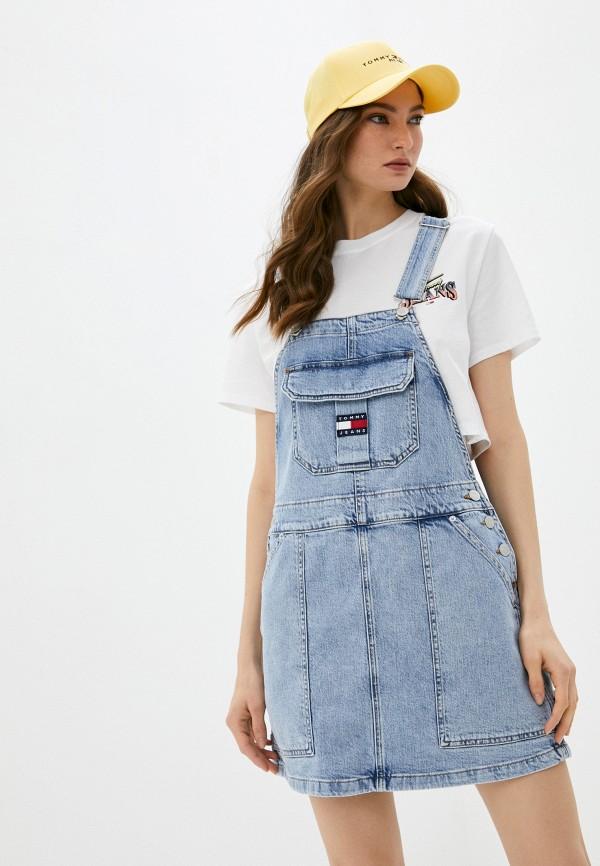 женский сарафан tommy jeans, голубой