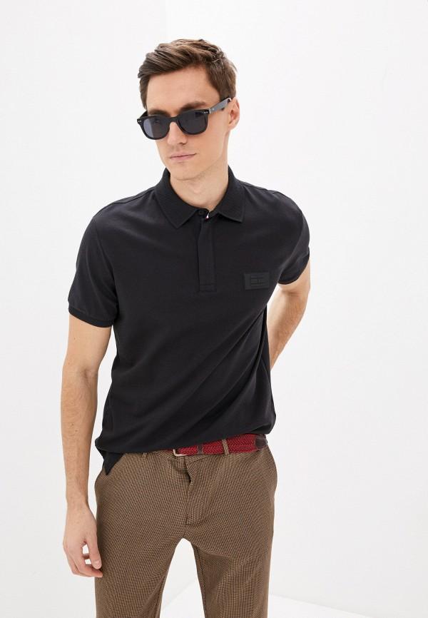 мужское поло с коротким рукавом tommy hilfiger, черное