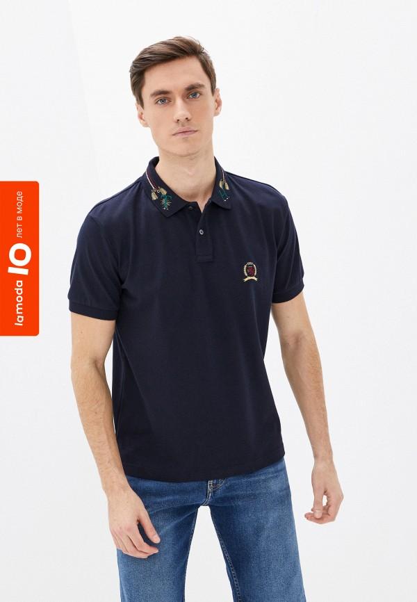 мужское поло с коротким рукавом tommy hilfiger, синее