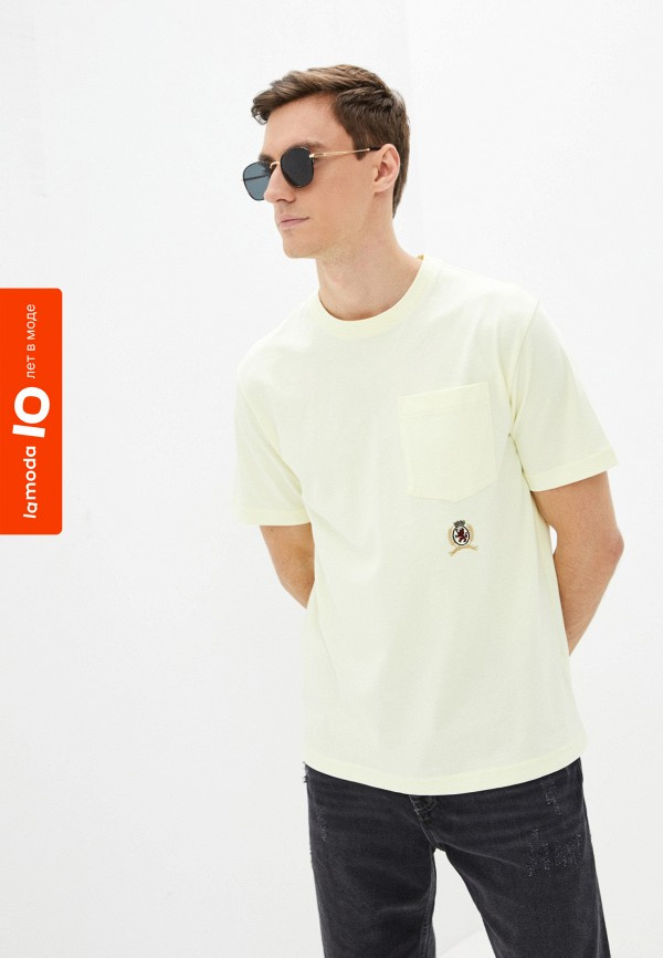 мужская футболка с коротким рукавом tommy hilfiger, желтая