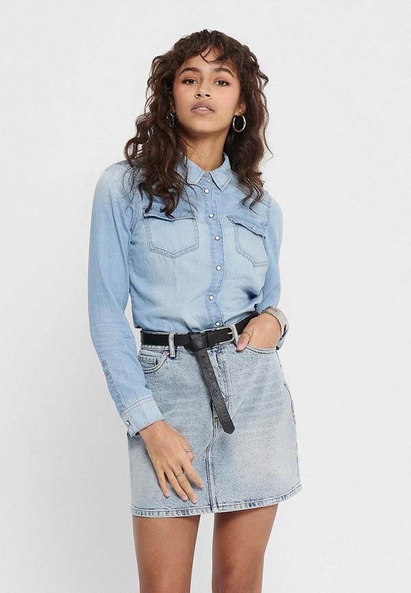 женская джинсовые рубашка only, голубая