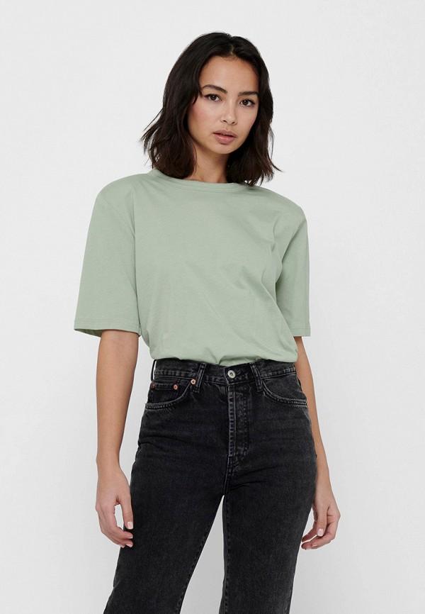 женская футболка only, зеленая