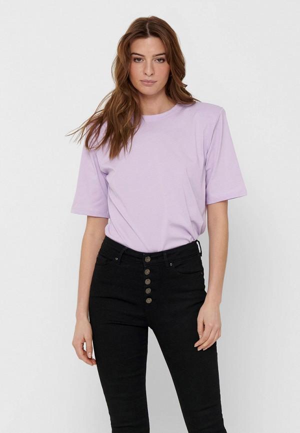 женская футболка only, фиолетовая