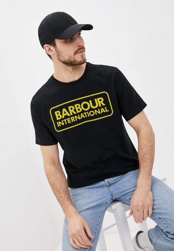 мужская футболка с коротким рукавом barbour, черная