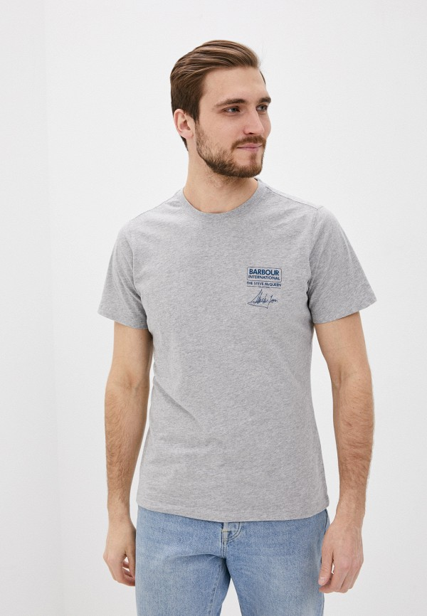 мужская футболка с коротким рукавом barbour, серая