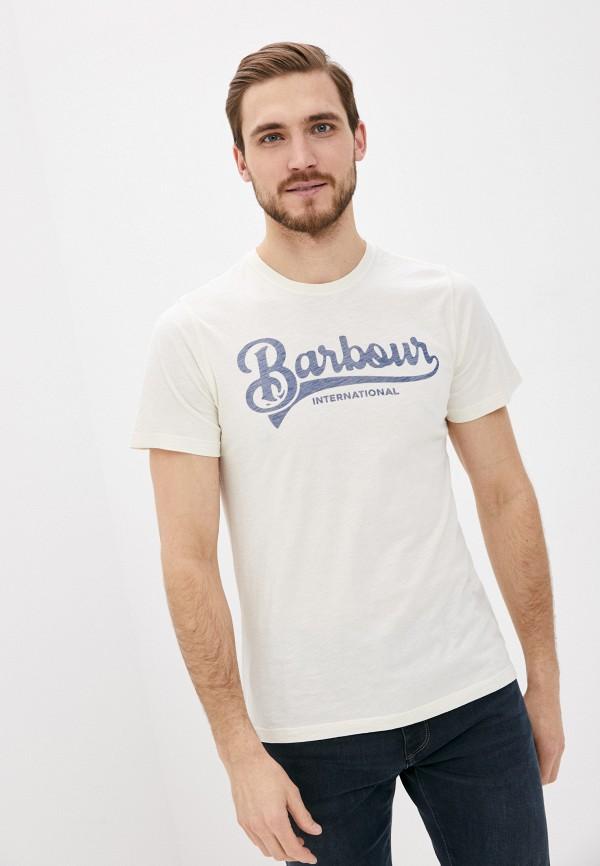 мужская футболка с коротким рукавом barbour, бежевая