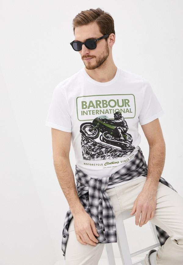 мужская футболка с коротким рукавом barbour, белая