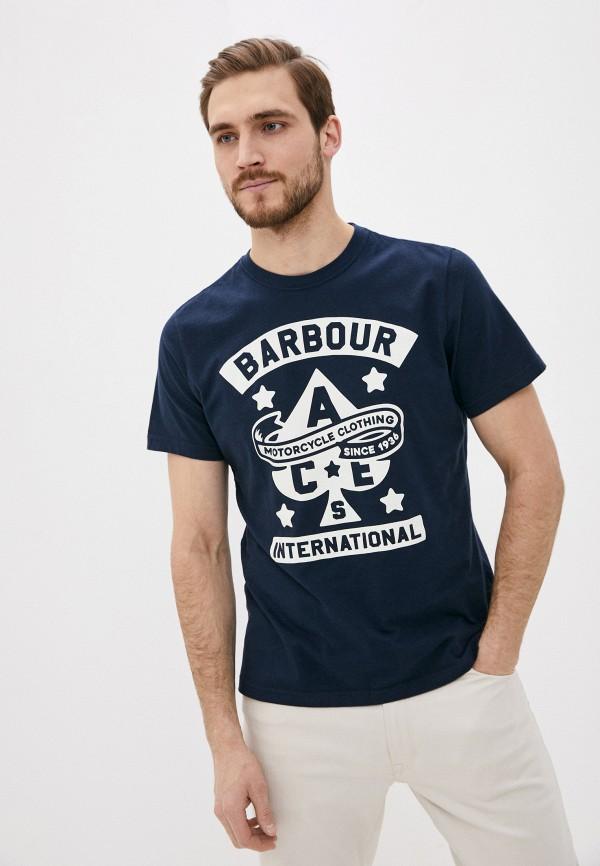 мужская футболка с коротким рукавом barbour, синяя