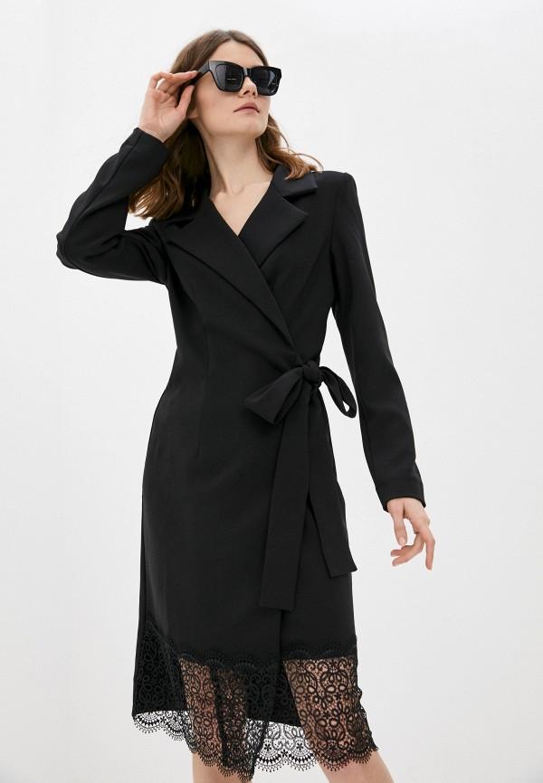 женское платье с запахом adzhedo, черное