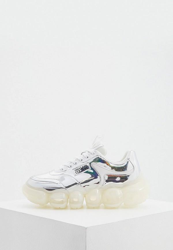 женские низкие кроссовки versace, серебряные