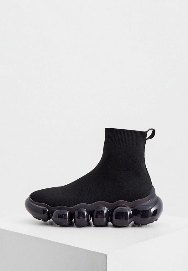 женские высокие кроссовки versace, черные