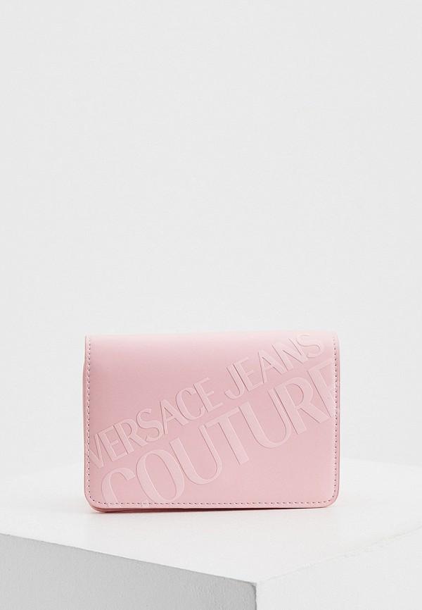 женская сумка через плечо versace, розовая