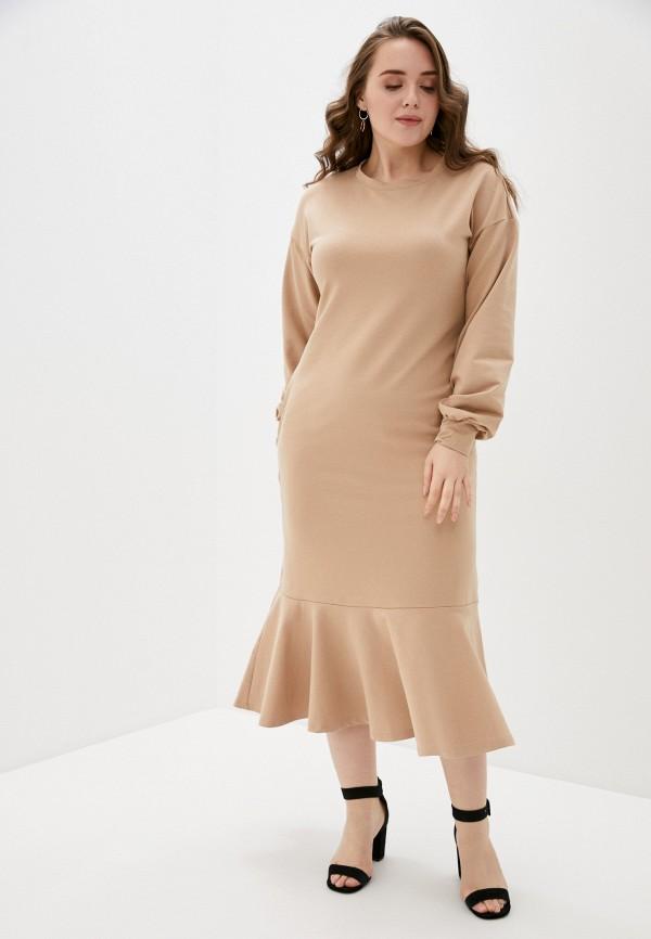 женское повседневные платье hey look, бежевое