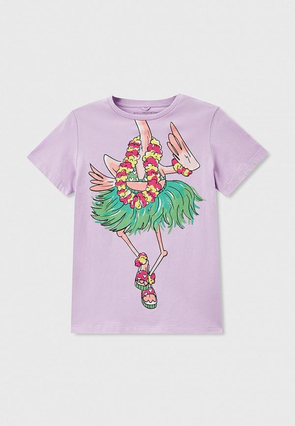 футболка с коротким рукавом stella mccartney для девочки, фиолетовая