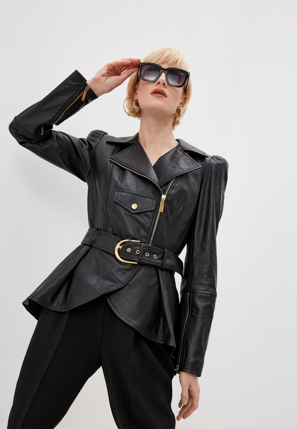 женская кожаные куртка elisabetta franchi, черная