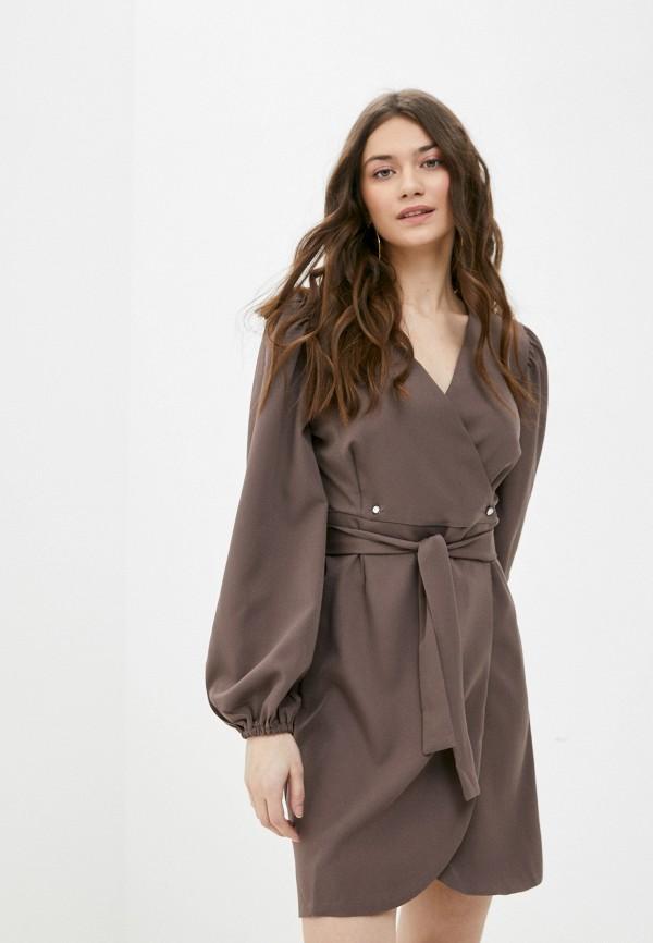 женское платье с запахом rene santi, серое