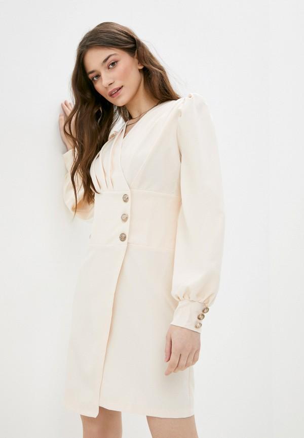 женское платье с запахом rene santi, бежевое