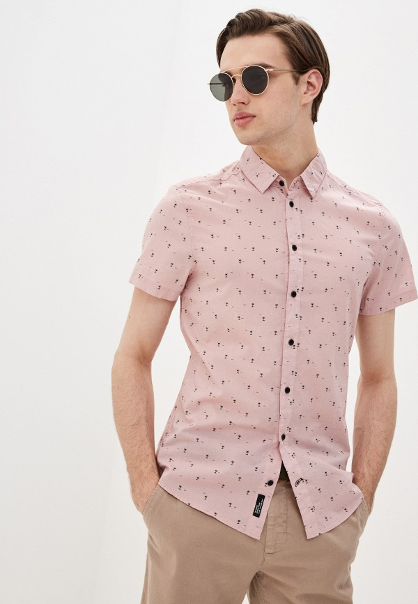 мужская рубашка с коротким рукавом blend, розовая