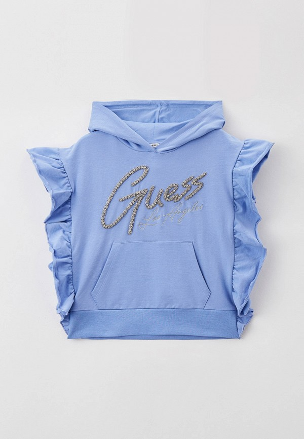 футболка с коротким рукавом guess для девочки, голубая