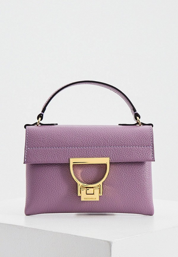 женская сумка с ручками coccinelle, фиолетовая