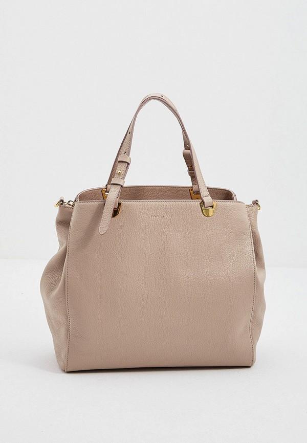 женская сумка с ручками coccinelle, бежевая