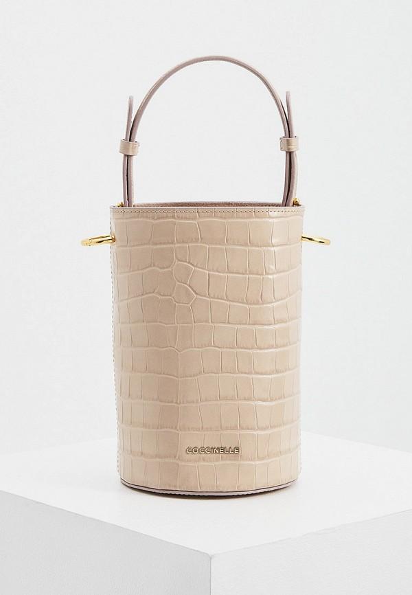 женская сумка-ведро coccinelle, бежевая