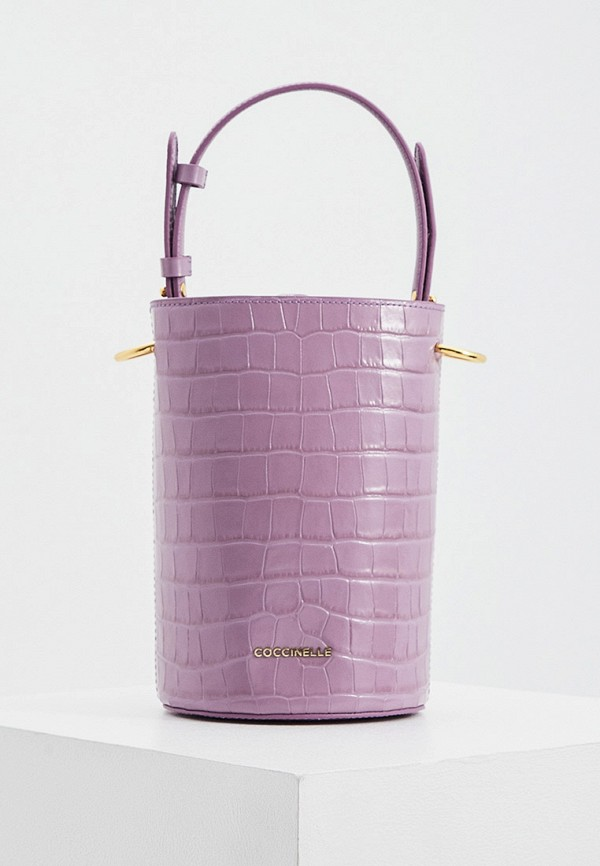 женская сумка-ведро coccinelle, фиолетовая
