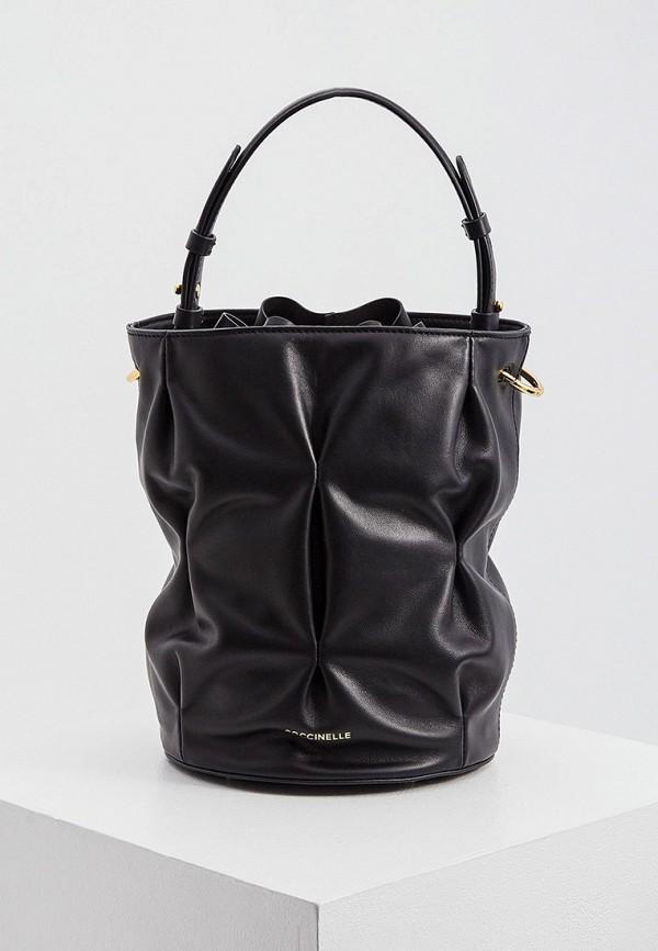 женская сумка-ведро coccinelle, черная