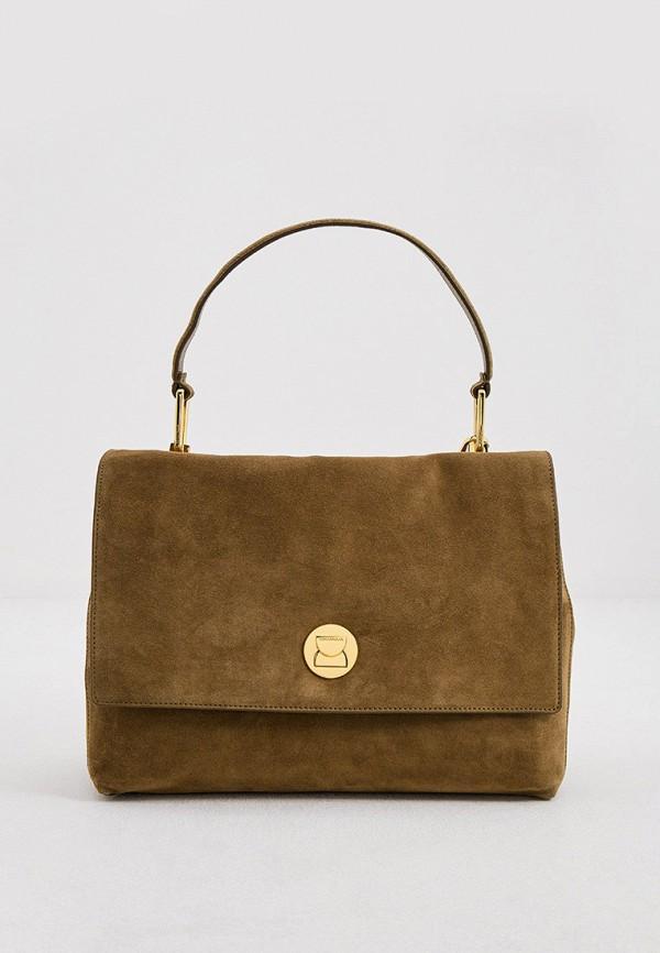 женская сумка с ручками coccinelle, хаки