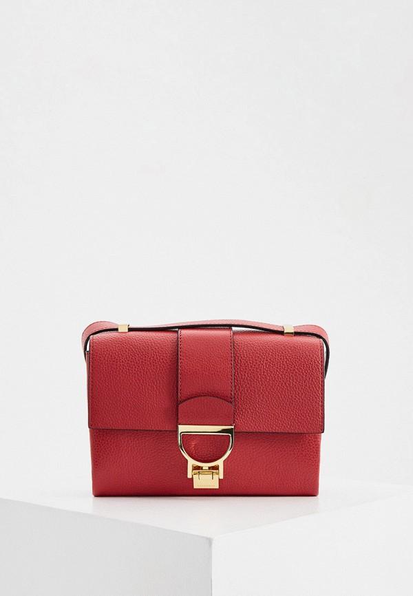 женская сумка с ручками coccinelle, красная