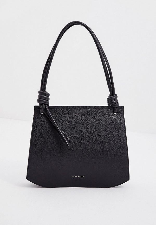 женская сумка с ручками coccinelle, черная