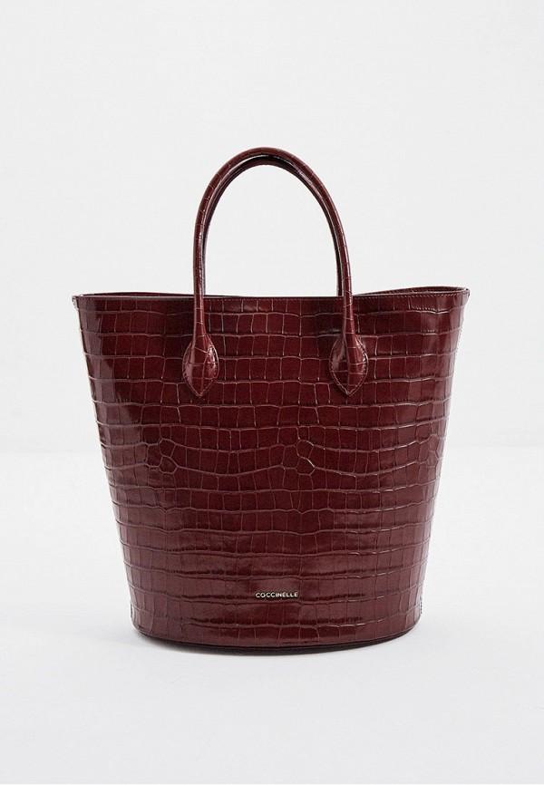 женская сумка с ручками coccinelle, бордовая