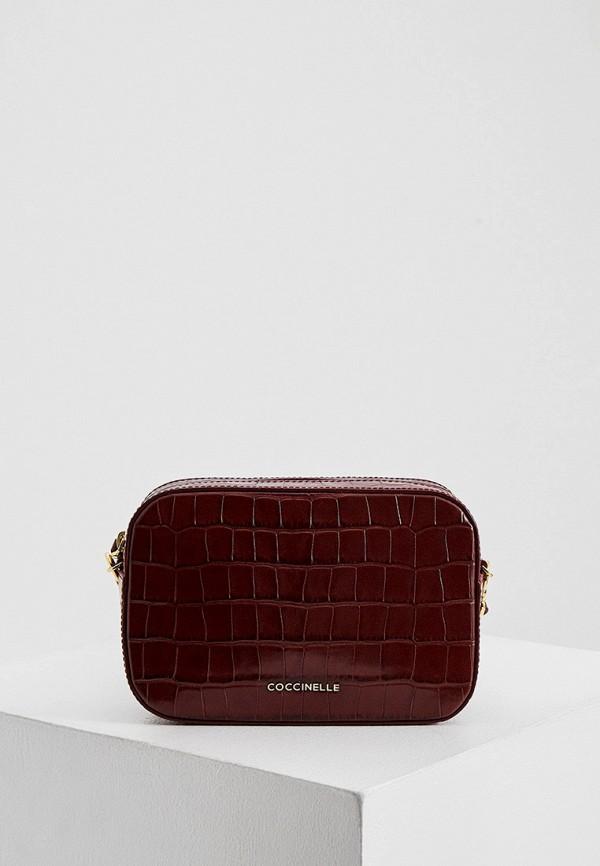 женская сумка через плечо coccinelle, бордовая