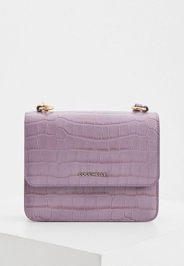 женская сумка через плечо coccinelle, фиолетовая