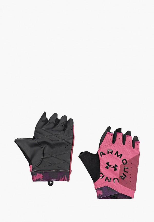 женские перчатки under armour, бордовые
