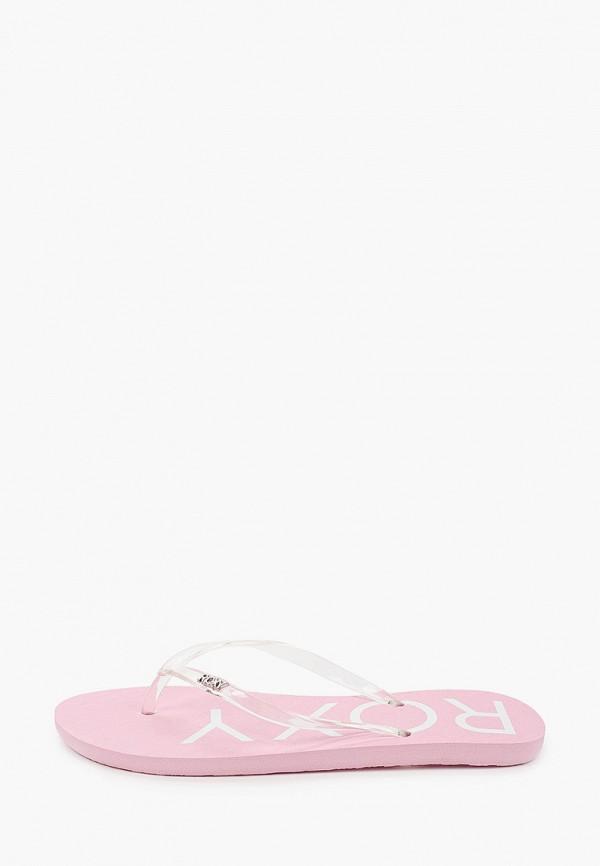 женские сланцы roxy, розовые