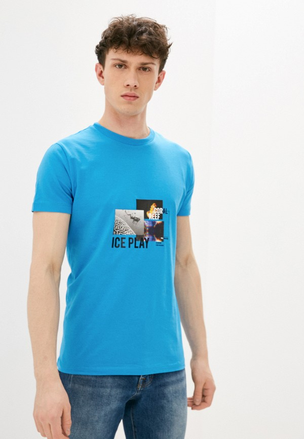 мужская футболка ice play, голубая