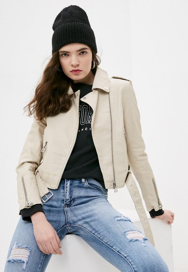 женская куртка косухи izabella, бежевая