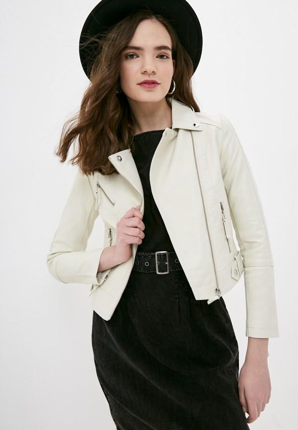 женская куртка косухи izabella, белая