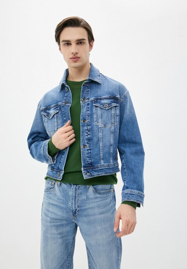 мужская джинсовые куртка marc o'polo, голубая