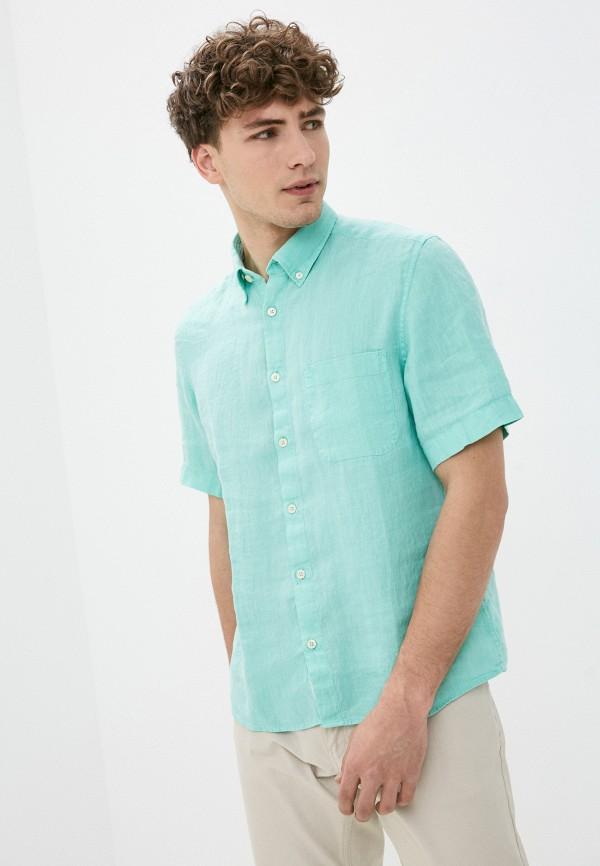 мужская рубашка с коротким рукавом marc o'polo, бирюзовая
