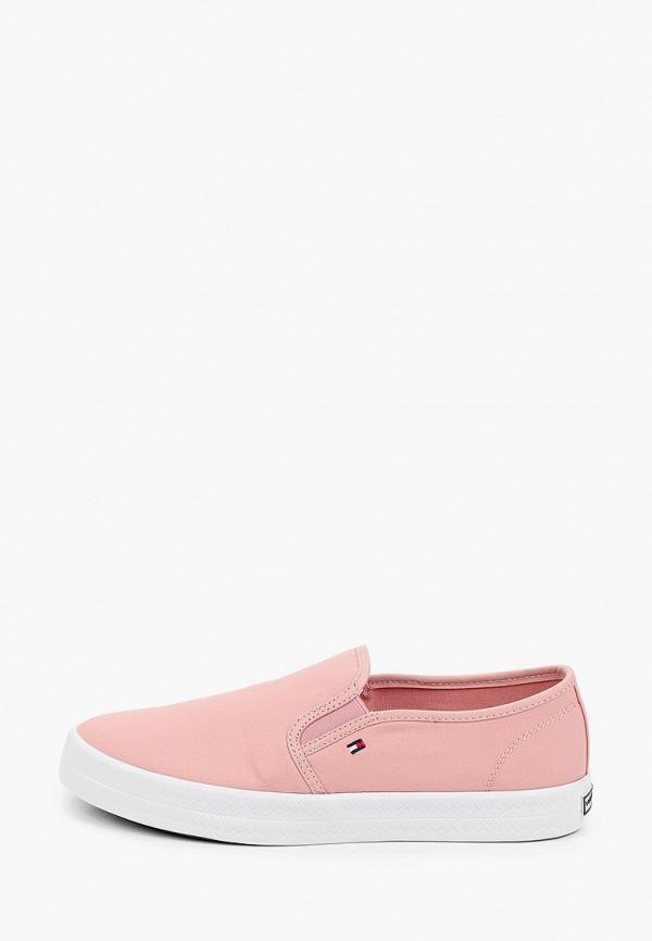 женские низкие слипоны tommy hilfiger, розовые