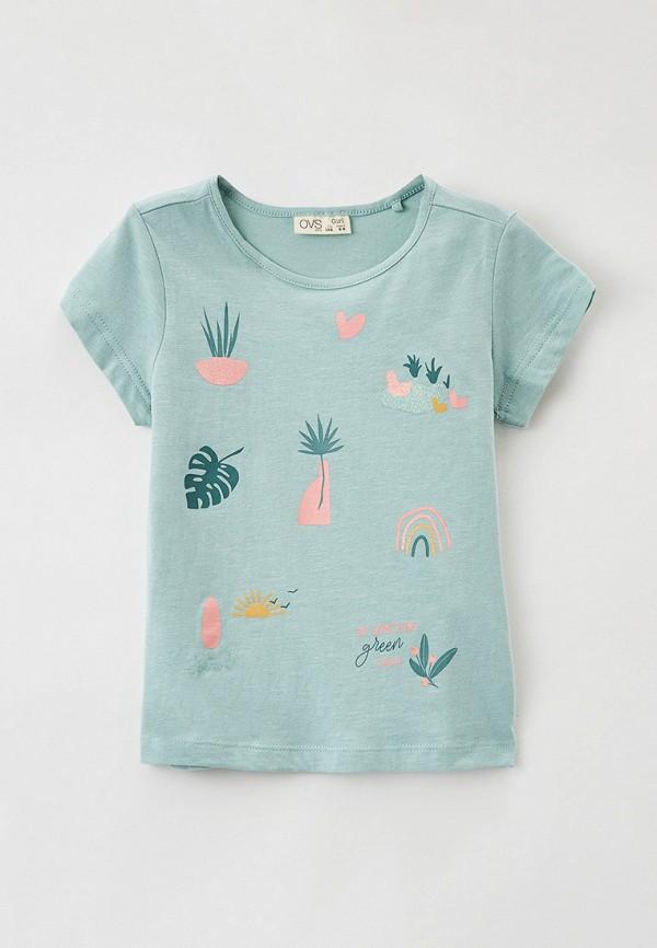 футболка с коротким рукавом ovs для девочки, зеленая