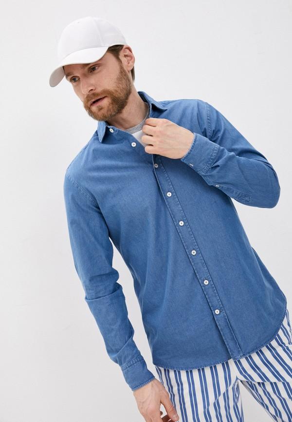 мужская джинсовые рубашка hackett london, синяя