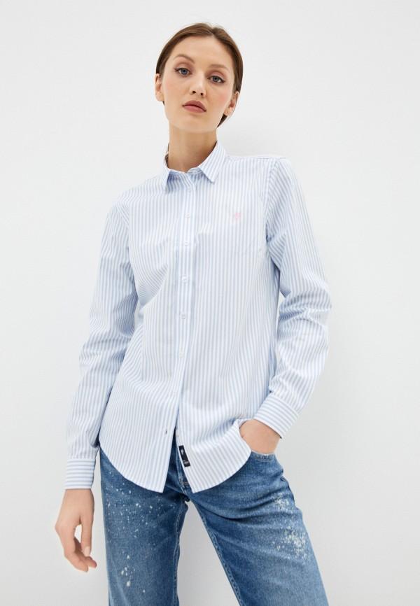 женская рубашка с длинным рукавом denim culture, голубая
