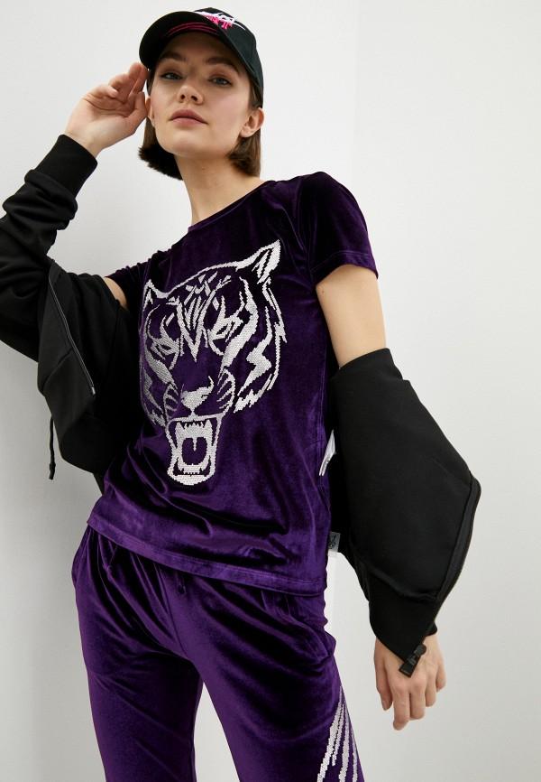 женская футболка plein sport, фиолетовая