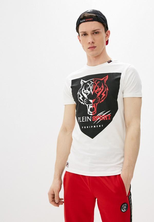 мужская футболка с коротким рукавом plein sport, белая