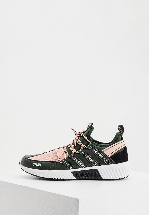женские высокие кроссовки plein sport, зеленые